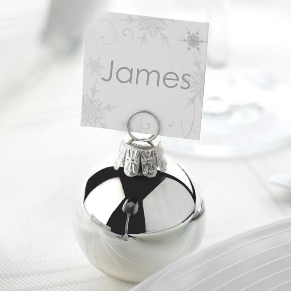 Shimmering Snowflake - Silver Bauble Place Card Holders